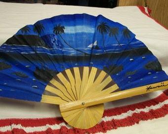 Vintage Hawaiian Souvenir Fan Hand Painted Diamond Head Palm Trees Wood & Paper Hand Held Decorative Fan Cobalt Blue