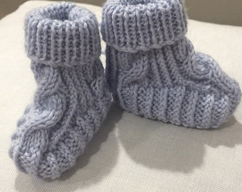 Hand knitted Cable Booties - Steel Blue