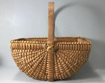 Basketville Appalachian White Oak Splint Basket Market Gathering Basket Buttock Basket Egg Gathering Basket, Ribbed Basket, Farmhouse basket