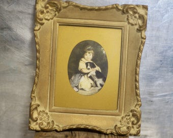 Vintage Picture Frame // Little Girl with Dog Framed Print // Miss Bowles Joshua Reynolds // Rococo // Gold Frame // Made in USA