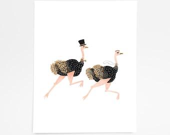 Ostrich Love - Art Print - 8x10