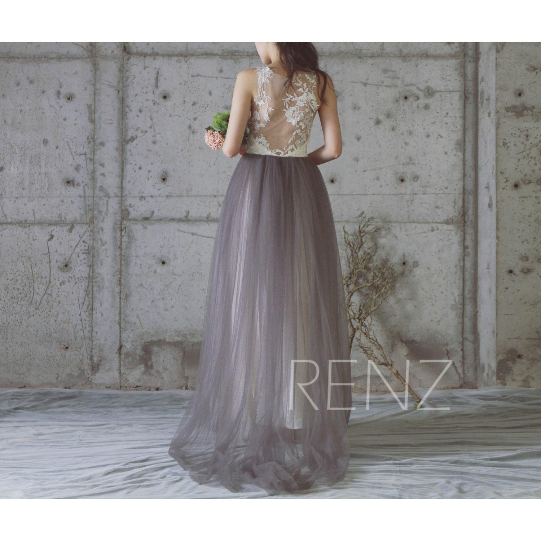 2017 f White Lace Bridesmaid Dress Charcoal Gray Wedding