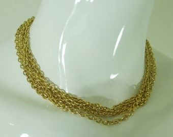 1980s Signed Givenchy Paris Necklace Multi Strand Chain Logo Clasp Couture Necklace
