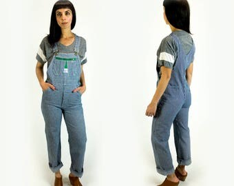 Vintage 1970s Railroad Stripe Super Soft Denim Tiny Fit Overalls Fits Like Size XS Extra Small