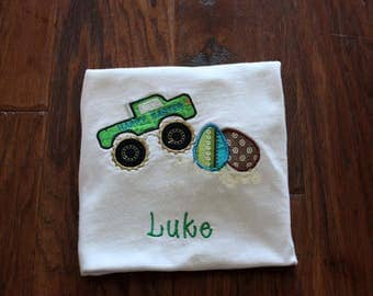 Easter Monster Truck Boy Shirt personalized.
