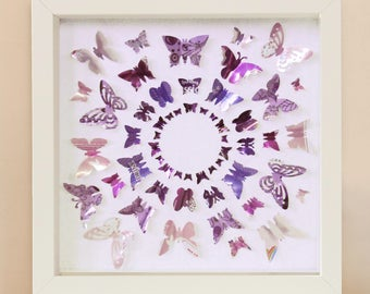 Circle Butterflies - Upcycled Can Picture, Medium Framed