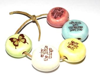 Ceramic Quote Bead Word Beads Set Handmade Affirmation