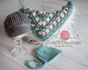 Ready to Ship, Newborn Knit bonnet, Newborn newsboy cap, Newborn mini blanket, Newborn Photo Prop, Newborn Photography prop