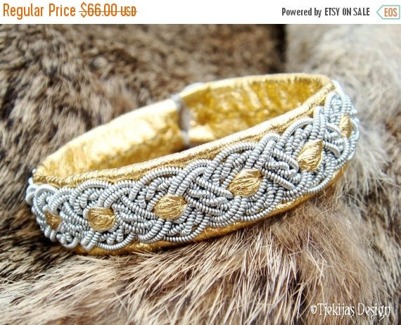 ALFHEIM Sami bracelet in Gold Reindeer Leather Swedish Lapland Bracelet with Pewter Braid - Handcrafted Natural Tribal Elegance