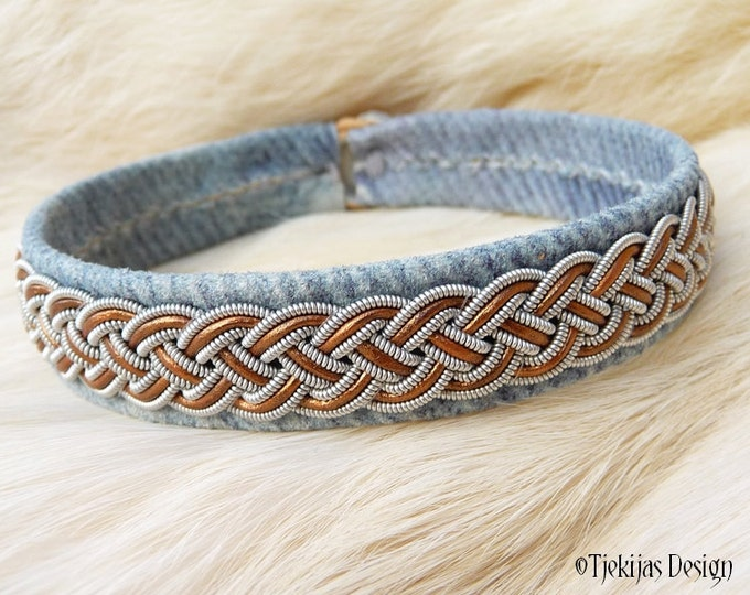 """Swedish Sami Viking Bracelet cuff FREKI size 21 cm / 8.3"""" - 20% off OUTLET ready to ship - Blue Denim Leather with Bronze and Pewter Braid"""