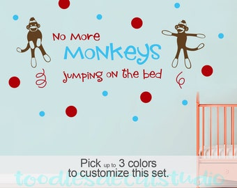 Sock monkey nursery wall decal, no more monkeys jumping on the bed, baby sock monkey vinyl sticker art