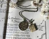 Not All Those Who Wander Are Lost: LOTR Inspired Hand Stamped Necklace With Book Locket and Green Crystals