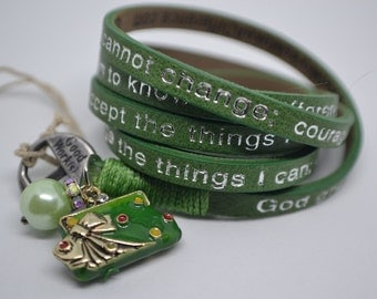 Humanity Leather Wrap Serenity Prayer Bracelet Green with Purse Bag Charm Message Goodworks