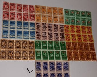 L Sample pack 100 savings trading stamps 10 pieces sheets of 10 different kinds colors red blue green Vintage paper supplies mixed lot