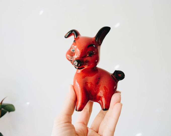 Cortendorf Mid Century Red and Black Pig Figurine // Vintage Art Sculpture // Baby Nursery // Animals // Antique Farmhouse