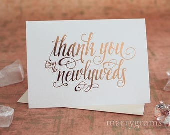 ROSE GOLD FOIL Wedding Thank You Cards from the Newlyweds, Thank You Notes - Thank You's from the Bride and Groom, Newly Married CS12
