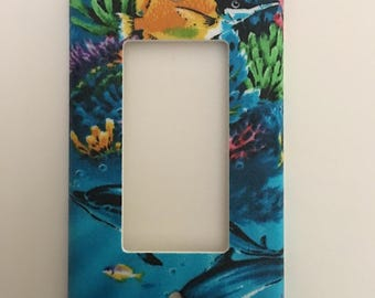 Tropical Fish And Dolphin Single Decora Light Switch Plate
