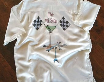 Men's Car Shirt-Car racing Pit Stop-Martini with car tires-Men's Camp shirt-NASCAR shirt,men's gift, father's day gift, for him,for dad