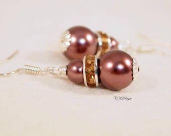 SALE Mocha Pearl Earrings, Pearl Wedding Earrings ,Mocha Bridesmaid Earrings Pierced or Clip-on Earrings,  Handmade Earrings. CKDesigns.US