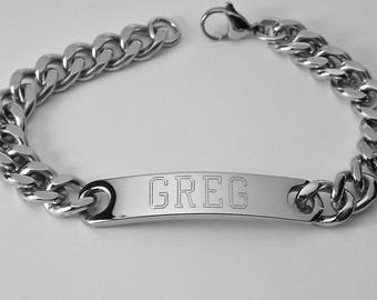 Mens ID Bracelet Personalized Custom Engraved 8 Inch Stainless Steel ID Bracelet  - Hand Engraved