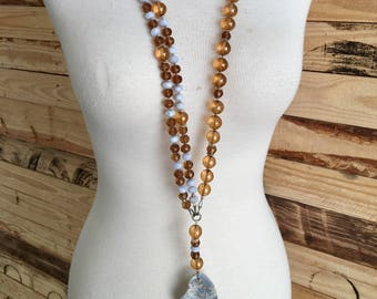 Grey Jasper Abstract Pendant Necklace