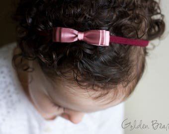 Little Dusky Rose Baby Headband - Flower Girl Headband - Little ELLA Dusky Rose Satin Bow Handmade Headband - Baby to Adult Headband