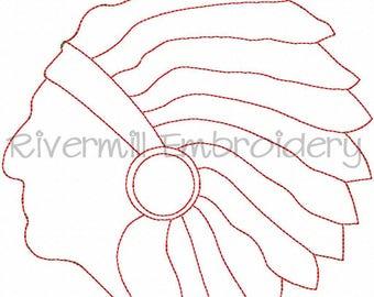 Raggy Applique Indian Warrior Machine Embroidery Design - 5 Sizes