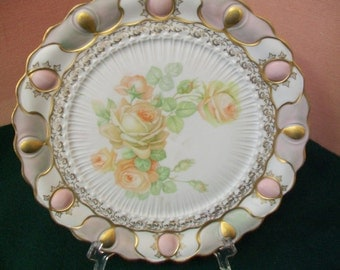 Peach Color Roses Decoraor Plate by IPF Germany