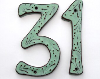 Address Numbers - Outdoor Custom House Numbers or Letters - Set of 2 - 8 inch or 7 inch Size - Aqua Mist Color - MADE TO ORDER