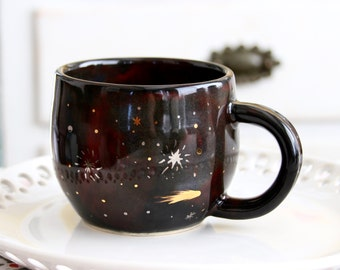 Galaxy Mug - Constellation Gold Nebula Stars - Handmade Pottery Cup - MADE TO ORDER