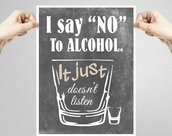 Printable Funny bar sign for your bar room decor decorations, just say no
