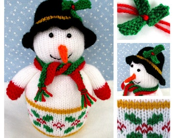 NEW - Mr Holly the Snowman - toy Christmas decoration - knitting pattern - PDF Instant Download