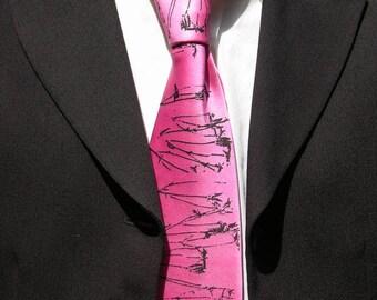 necktie handpainted pink satin silk handprinted black abstract 'sprigs'