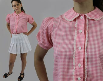 vintage 1950s baby pink gingham puff short sleeve cropped blouse babydoll lace peter pan round collar lolita 50s top shirt Small/Medium