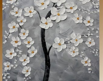 """2 DAY SALE Original abstract Oil Tree Of Life gallery canvas 36"""" signature palette knife floral impasto painting by Nicolette Vaughan Horner"""