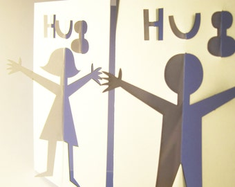 Laser cut 'HUG' card (girl and boy versions available)