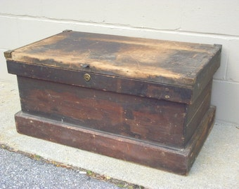 Antique Wooden Carpenter Tool Chest Box Tradesman Trunk Coffee Table - Wood - Primitive Industrial Functional Decor - Storage