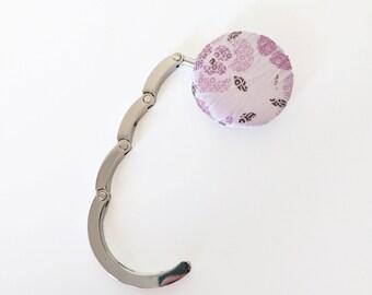 Handbag Hook, Purse Hook Hanger, Bag Hook, Folding Purse Hanger in Pink Floral