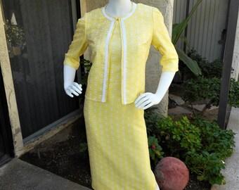 Vintage 1960's Yellow Daisy Print Dress & Jacket Set - Size 8