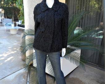 Vintage 1940/50's Black Persian Lamb Jacket - Size Medium