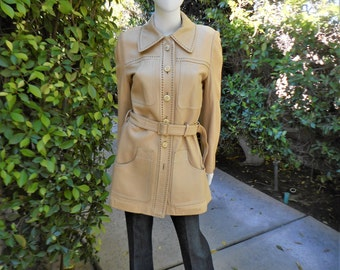 Vintage 1960's Leder Chic Beige Leather Coat - Size Medium