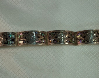 Vintage Taxco Sterling Abalone Inlaid Aztec Sun God Link Bracelet