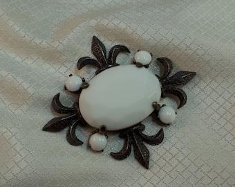 Rare 1960's Jeanne White Milkglass Fleur-de-Lis Maltese Cross Statement Brooch
