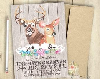 Buck or Doe Gender Reveal Invitation PRINTABLE