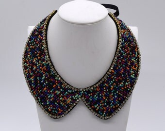 Bead Rhinestone  Embroidered Detachable Collar Necklace