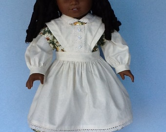 18 inch doll Civil War dress and apron. Daisy print with muslin contrast.