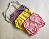 Infant Diaper Cover, Baby Bloomers - Any two of Your Favorite Colors - Black, White, Navy, pink, purple, yellow, red or custom- in all sizes