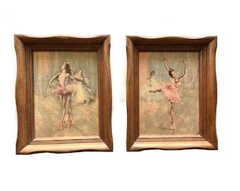 Vintage ballerina picture wall hanging frame set of 2