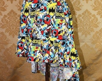 "HALF OFF SALE High Low Mini Cecilia Skirt -- Batgirl Print -- Ready to Ship -- Fits Up To 38"" Waist"