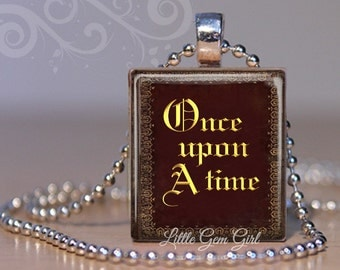 Once Upon a Time Book Necklace - Vintage Book Cover Charm - OAUT Book Jewelry Fairy Tale Fairytale Charm